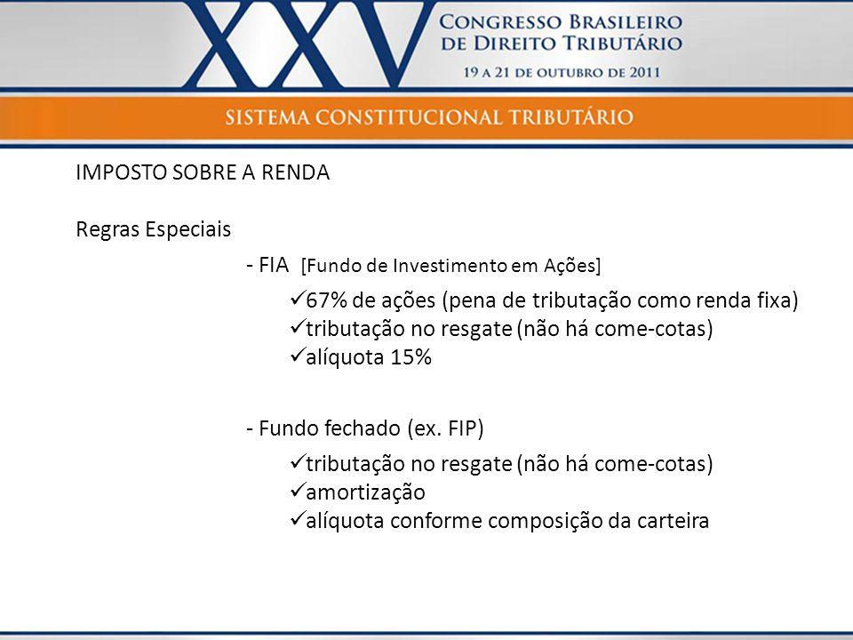 IMPOSTO SOBRE A RENDA Regras Especiais. - FIA [Fundo de Investimento em Ações] 67% de ações (pena de tributação como renda fixa)